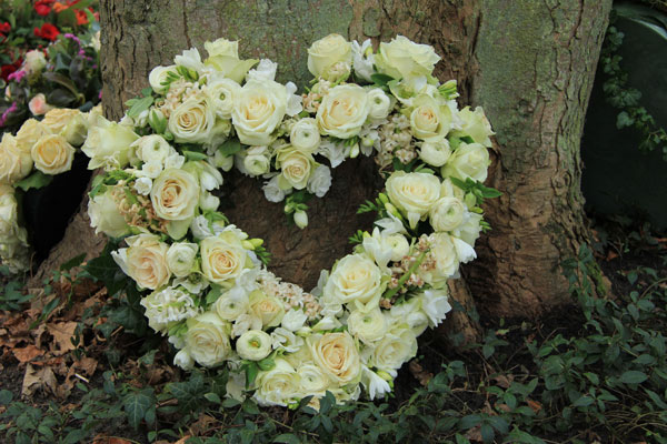 Flowers in heart shape for funeral