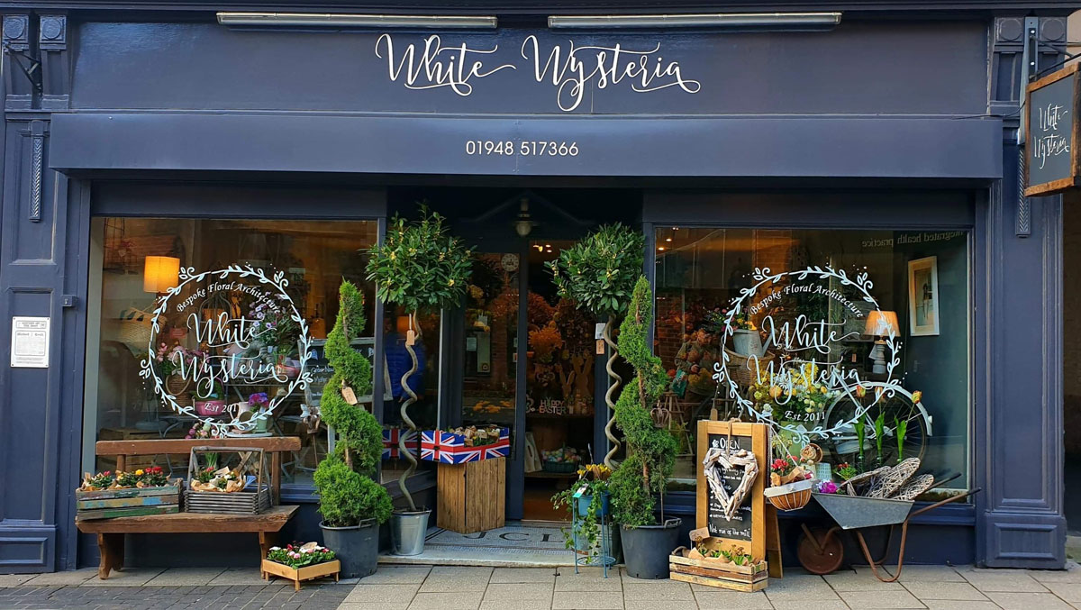 Shop front of White Wysteria in Whitchurch town centre